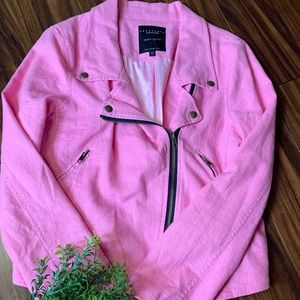 Sanctuary Couture Linen Bright Pink Moto Jacket
